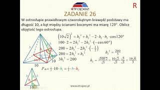 Objętość ostrosłupa prawidłowego czworokątnego - kąt dwuścienny (Kurs Matura Rozszerzona eTrapez)