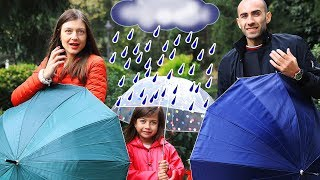 Rain Rain Go Away Nursery Rhyme with Emily, Mommy and Daddy & Kids Songs Family for Children