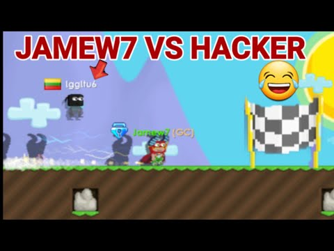 """JAMEW7 VS HACKER!"" (SPEED RACE) + RIP WLS! OMG!! - Growtopia"