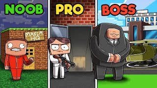 Minecraft - MAFIA HEADQUARTERS! (NOOB vs PRO vs BOSS)