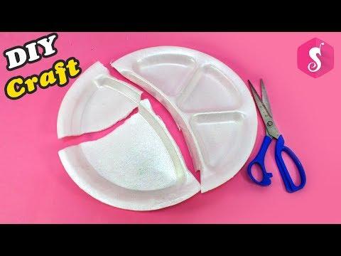 Thermocol Disposable Plate Craft Idea   Easy Craft Idea   Showpiece 2018