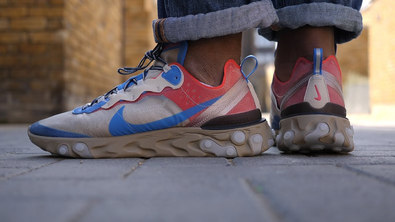 e76552ead951 Nike x Undercover React Element 87 (Beige Chalk + Signal Blue) Review   On  Feet
