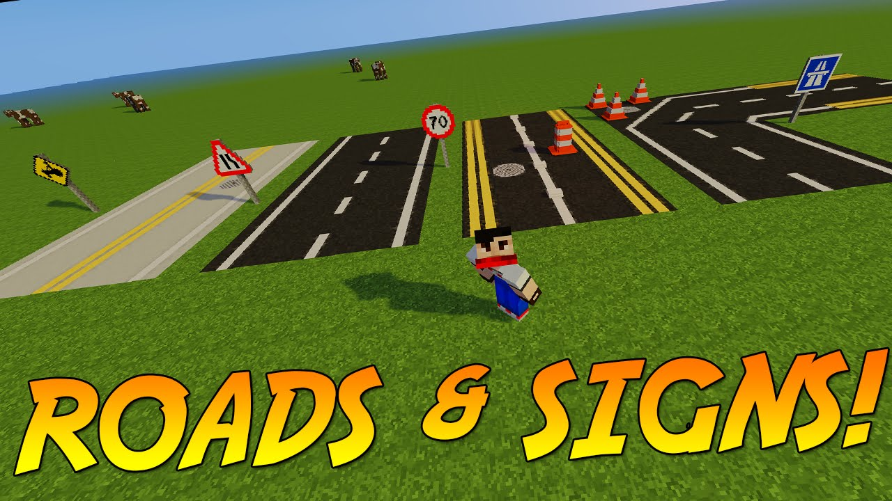 BUILD ROADS & SIGNS IN MINECRAFT!