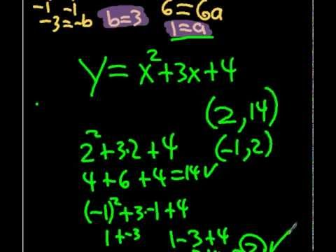 Writing Quadratic Equations From 3 Points Youtube
