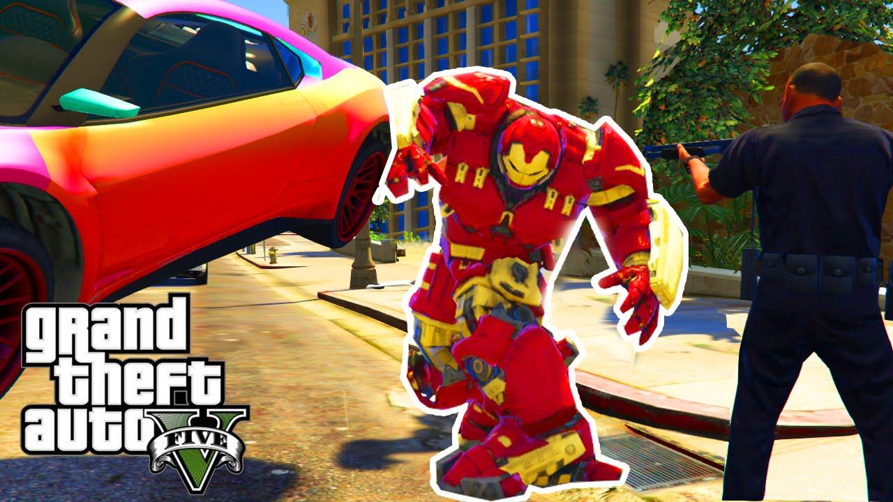 GTA 5 PC Mods - MINI HULKBUSTER IRON MAN MOD! GTA 5 Iron Man Super Hero  Armor Mod Funny Moments!