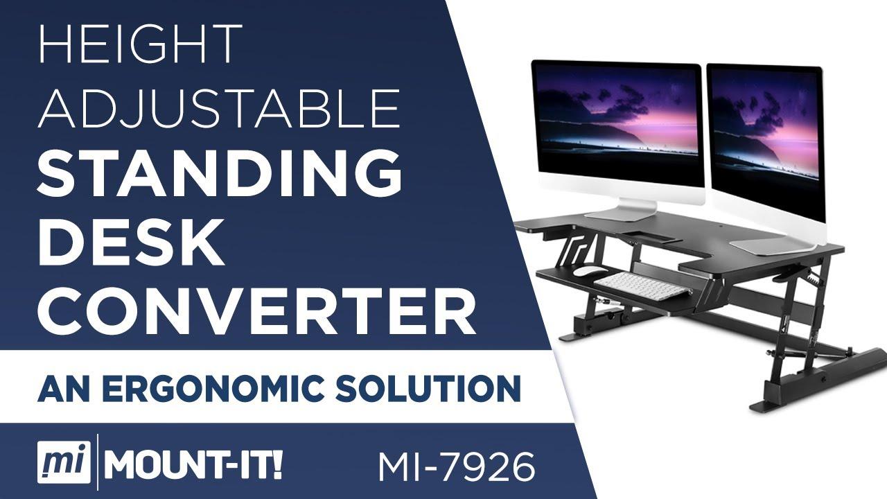 mount it mi 7926 adjustable height standing desk converter youtube. Black Bedroom Furniture Sets. Home Design Ideas