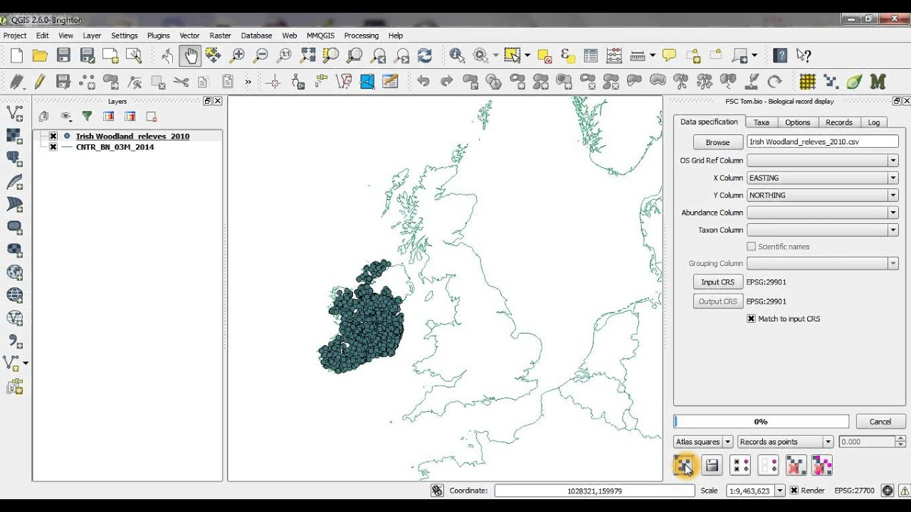 Youtube Map Of Ireland.Qgis Biological Records Tool Irish Grid Example