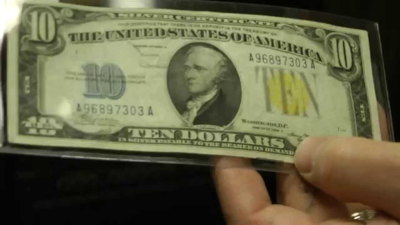 North africa yellow seal silver certificate 10 dollar bill youtube xflitez Choice Image