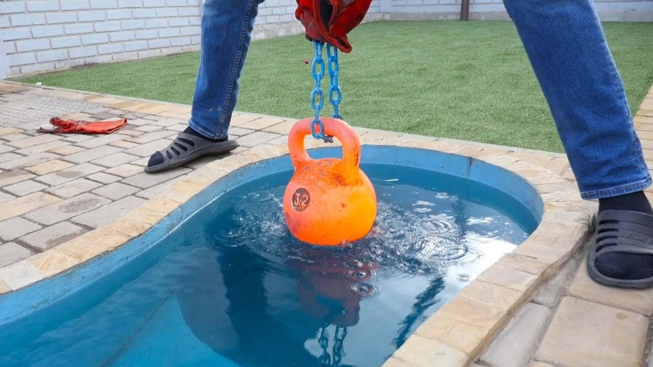 Experiment Glowing 1000 Degree Kettlebell Vs Pool Youtube