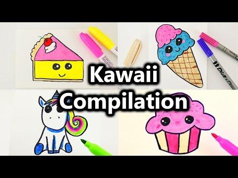 Kawaii Malen Compilation | Süße Bilder Zeichnen | Kawaii Kuchen, Eis, Muffin, Einhorn Und Mehr