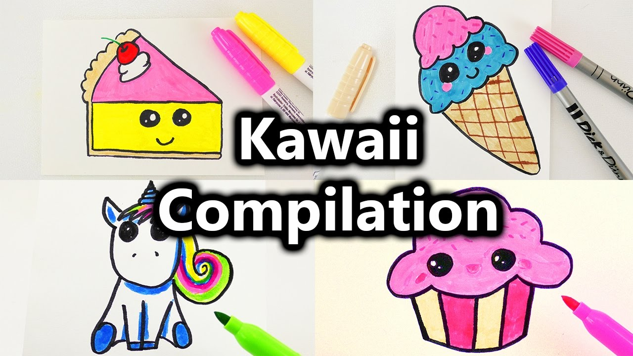 kawaii malen compilation s e bilder zeichnen kawaii kuchen eis muffin einhorn und mehr. Black Bedroom Furniture Sets. Home Design Ideas