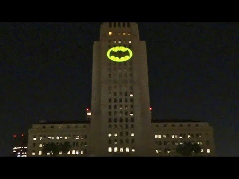 Full Bat-Signal lighting in honor of Adam West (Batman) at Los Angeles City Hall