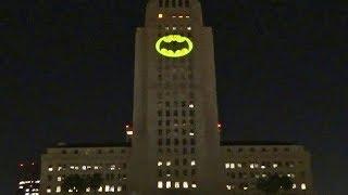 Full Bat-Signal lighting in honor of Adam West (Batman) at Los Angeles City Hall