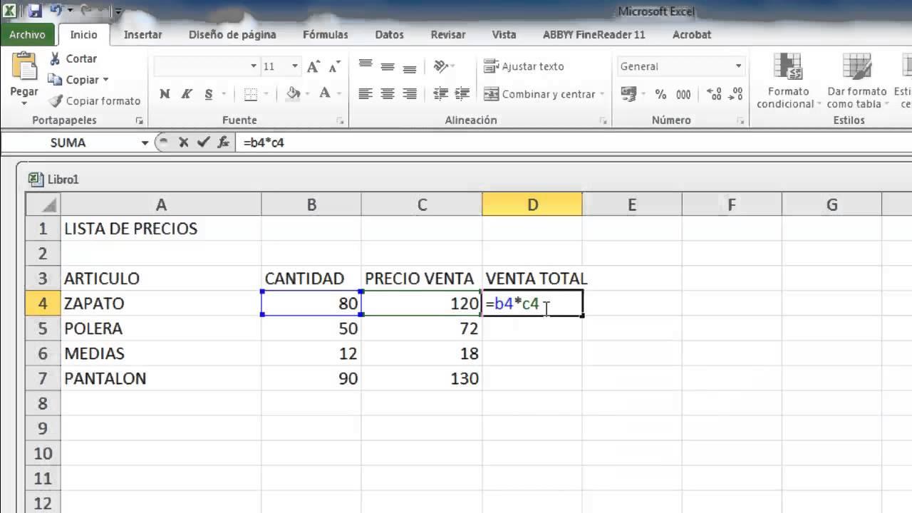 Formula para multiplicar cantidades en excel youtube for Como hacer una nomina en excel con formulas