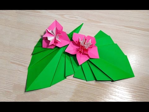 Easy Origami leaf for table decoration. Paper leaves - Easter eggs decoration.
