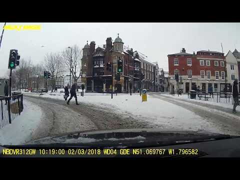 Snow in Salisbury Uk City centre Castle road, Winchester road 2/03/2018