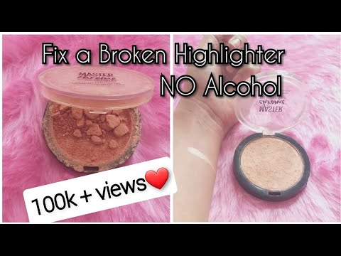 Fix a Broken Highlighter - NO ALCOHOL | Fix broken compact powder/ eyeshadow / Bronzer | DIY with RJ