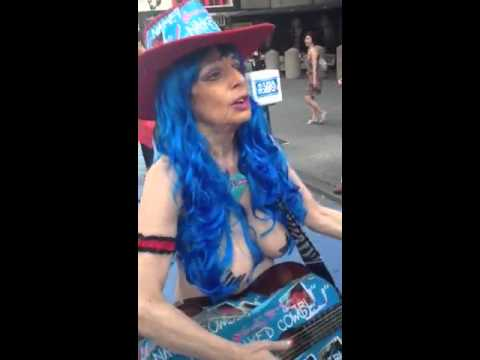 Naked Cowgirl singing happy birthday to me! - YouTube