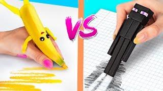 """10 حيل (تقدروا تعملوها بنفسكم) تحدي أدوات مدرسية من """"فورت-نايت"""" ضد أدوات مدرسية من """"ماين- كرافت"""""""