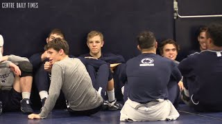 Penns Valley alum fitting in in Penn State wrestling room