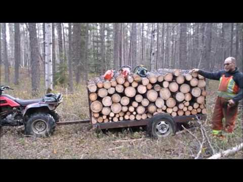ATV Hauling Logs With Our Homade Trailer