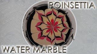 Poinsettia Water Marble | 12 Days of Christmas Nail Art | DIY Tutorial