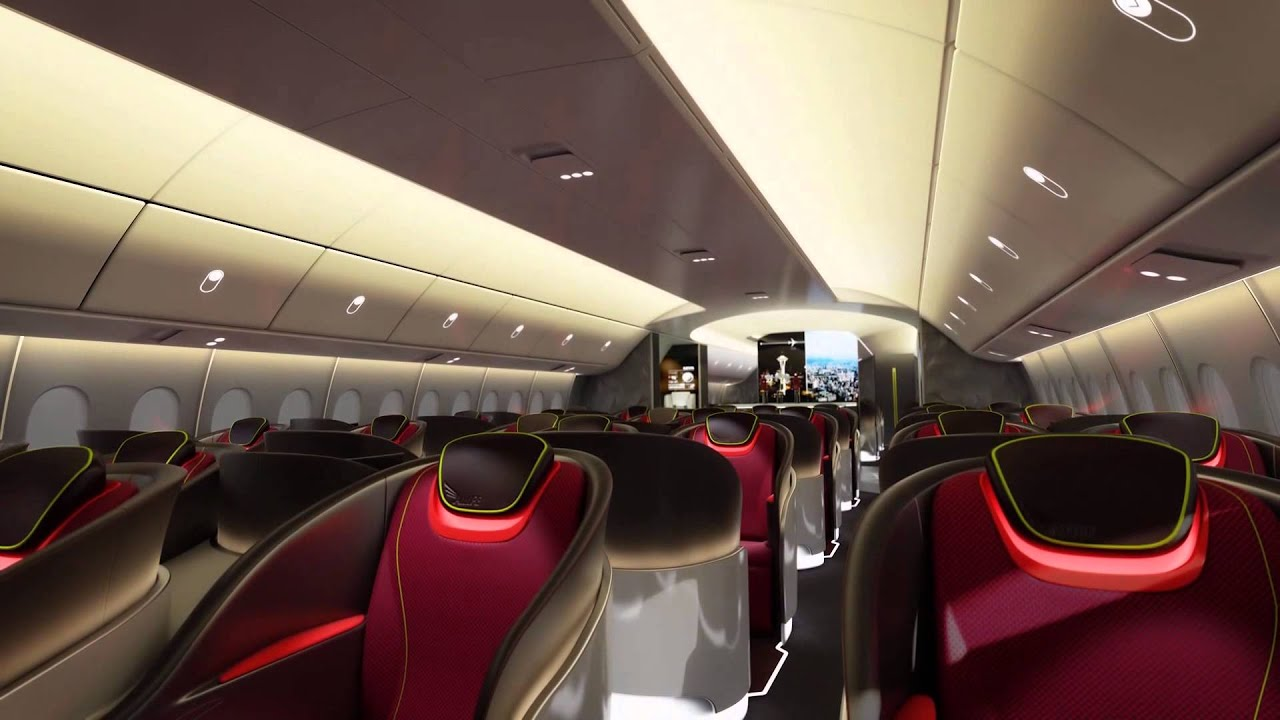 Renderized video of boeing 777x interior youtube for Boeing 777 interior