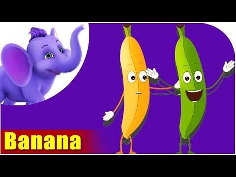 Banana Fruit Rhyme for Children, Banana Cartoon Fruits Song for Kids