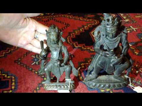 Antique Bronze Sculpture. Statue India Nepal. Triptych: Kuber & Attendants