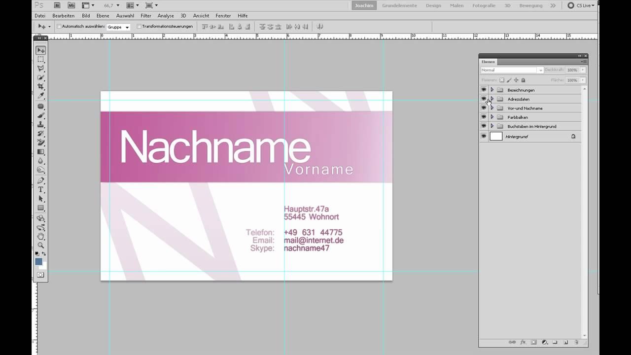 Photoshop Template Einer Visitenkarte Anpassen