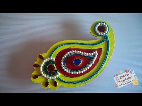 DIY How to decorate paisley shaped wooden kumkum box, haldi kumkum box / dibbi with kundan work