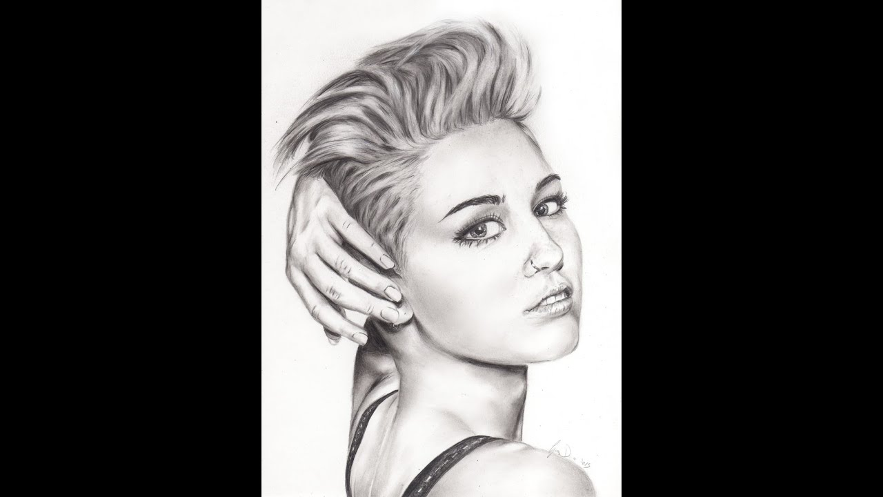 speed drawing miley cyrus portrait graphite charcoal pencil