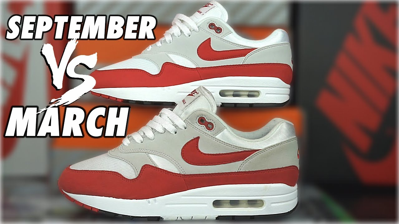 best sneakers 8baa8 9a09f NIKE AIR MAX 1 ANNIVERSARY MARCH VS SEPTEMBER COMPARISSON