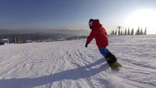 Carve on a Snowboard, speed carving - Sheregesh Russia - November, 2016
