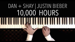 Dan + Shay, Justin Bieber - 10,000 Hours | PIANO COVER (with Lyrics) Video