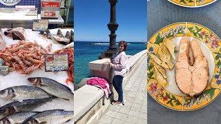 Закупка продуктов в супермаркете Италии. ГОТОВЛЮ РЫБУ: соленая скумбрия и стейк из красной рыбы.