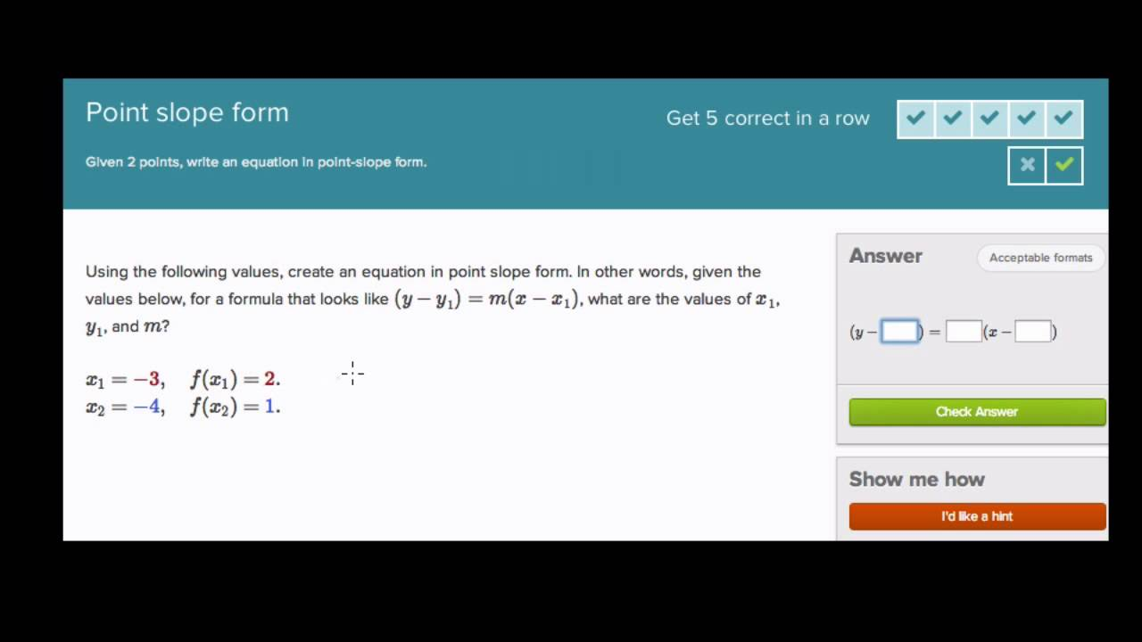 Point Slope Form on Khan Academy - YouTube