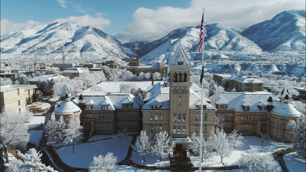 utah state university campus winter