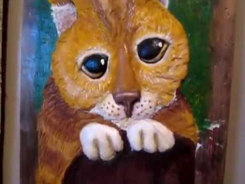 Барельеф картинка кот с шрека