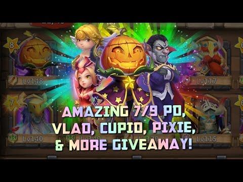 Castle Clash Insane Giveaway! Pumpkin Duke, Cupid, Vlad, Pixie And More!
