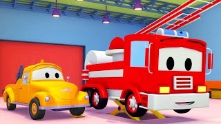 Itfaiye kamyonu ve Çekici Tom   Araba ve Kamyon inşaat çizgi filmi (çocuklar için)