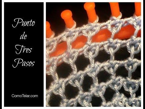 PUNTO de Tres Pasos en Telar Redondo - Three Step Stitch in Spanish