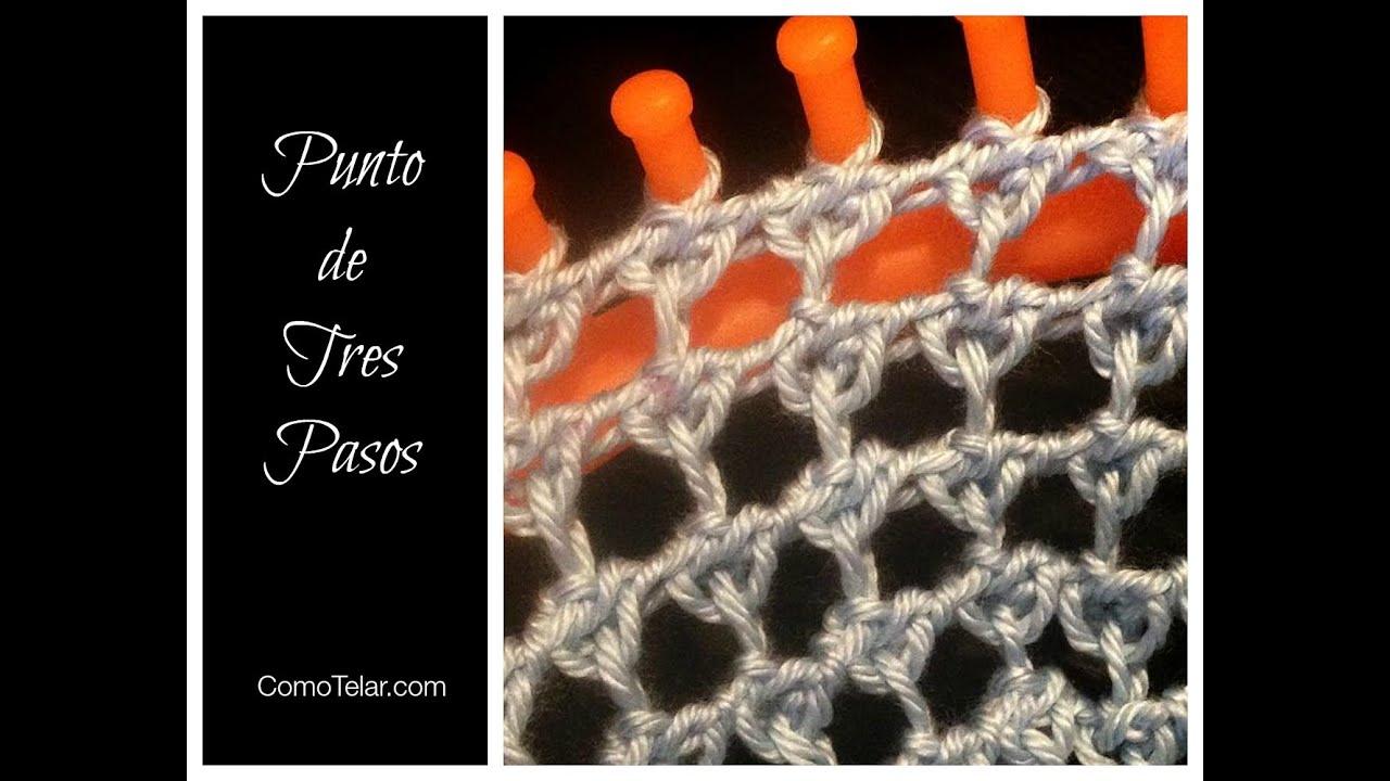 Knitting In Spanish Instructions : Punto de tres pasos en telar redondo three step stitch