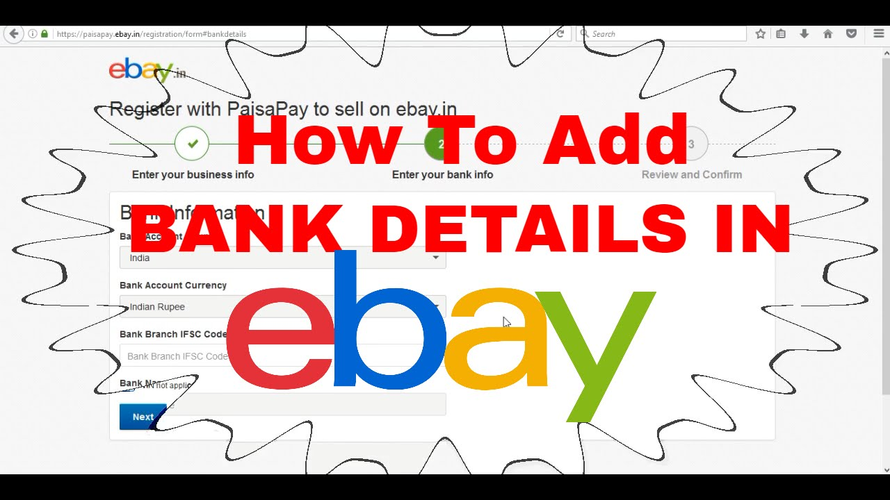 How To Add Bank Details And Paisapay Details In Ebay To Sell Products Online Youtube