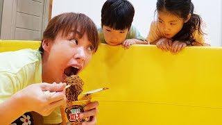 엄마 같이 먹어야지!! 서은이와 유준이의 뽀로로 자장면 숨바꼭질 엄마 찾기 오락기 Pororo Black Noodle