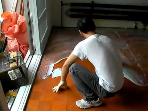 How To Cover Commercial Vinyl Floor Tile Glue Diymall Youtube