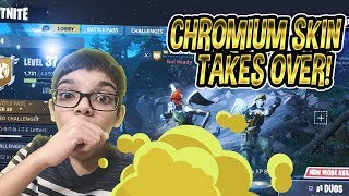 NEW CRAZY CHROMIUM SKIN🔥(SOLID STEEL SKIN) TAKES OVER FORTNITE BR😱💪🏽