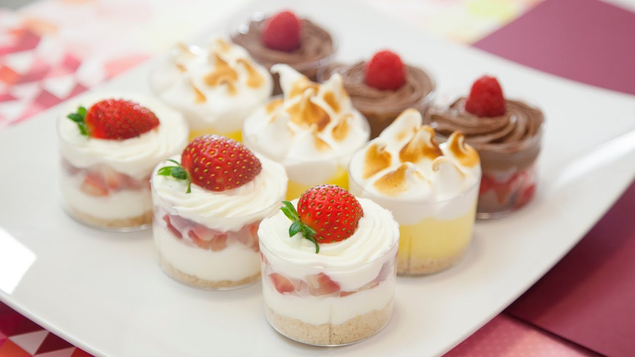 MINI DESSERT SHOOTERS RASPBERRY BROWNIE STRAWBERRY CHEESECAKE LEMON MERINGUE