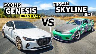 homepage tile video photo for Skyline vs. Hyundai? 600-ish hp R33 GT-R Races a 500hp Genesis // This vs. That[HOONIGAN]