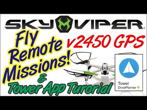 Sky Viper V2450 GPS Drone Auto Mode Remote Missions. Tower App Tutorial